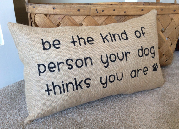 Burlap Dog Pillow